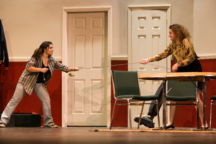 FILE PHOTO: Jacqueline Kevorkian, 17, left, plays the role of Olive Madison and Juliana Servetnick, 15, plays Florence Unger during rehearsel for The Odd Couple, a Props and Paints presentation at Maloney High School, Wednesday, November 20, 2013. |  Dave Zajac / Record-Journal