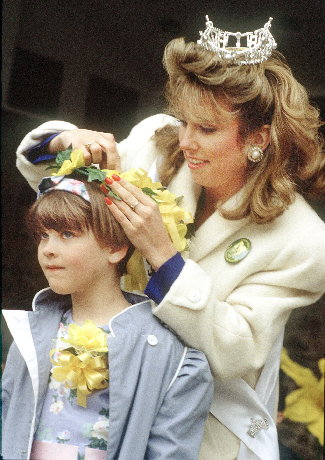 Little Miss Daffodil for 1992 Megan Mahon is crowned by Miss Meriden.| File photo, Record-Journal