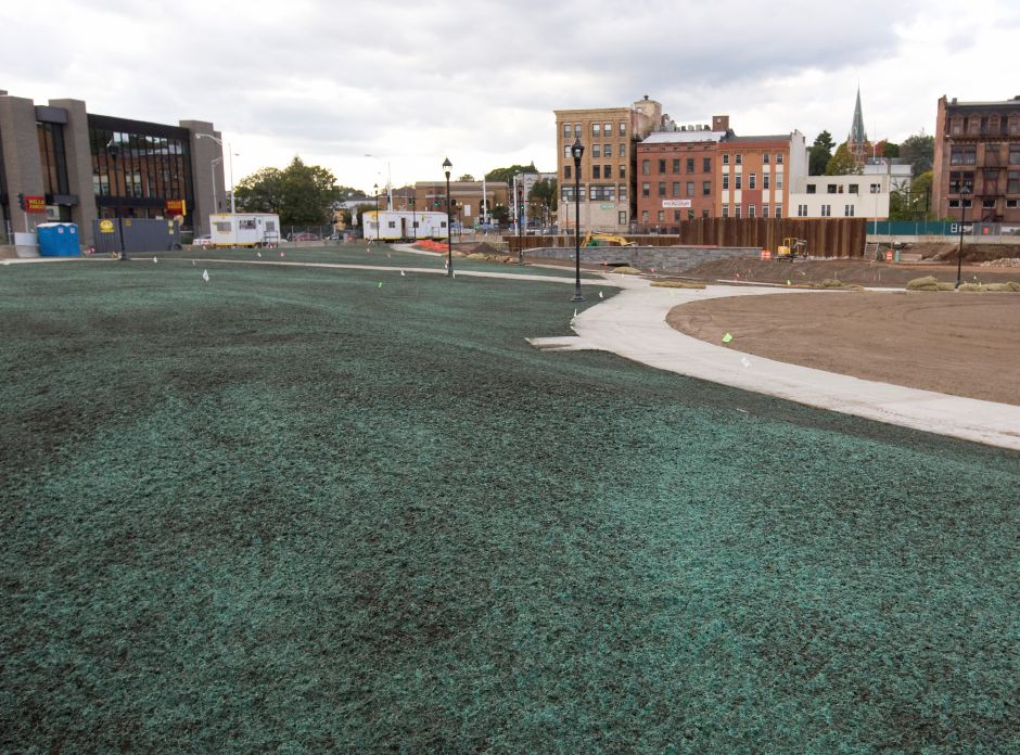 View of the southeast section of the Hub after hydroseeding, Thursday afternoon, October 8, 2015. | Dave Zajac / Record-Journal