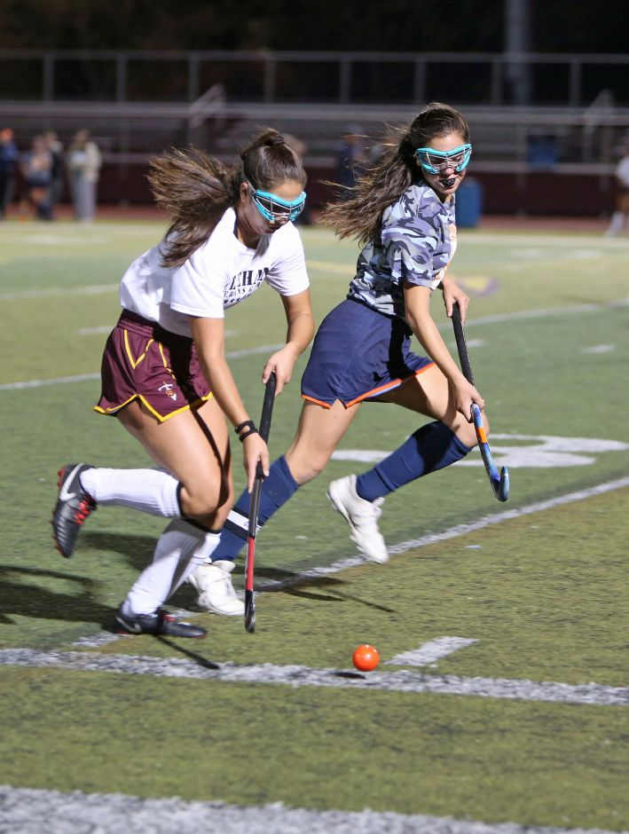 Caitlyn Velez had a goal and an assist in the Sheehan field hockey's 6-0 win Wednesday over Lauralton Hill in Milford, a victory that qualified the Titans for the Class M state tournament. | Emily J. Tilley, special to the Record-Journal.