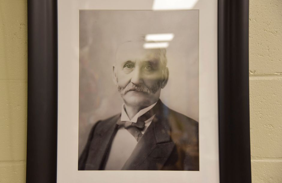 A protrait of Levi E. Coe, who donated Middlefield