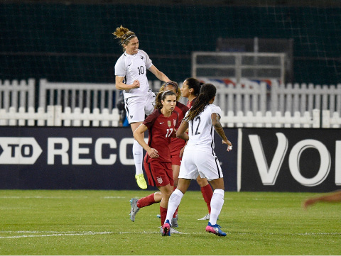 France midfielder Camille Abily (10) celebrates her goal during the first half of a SheBelieves Cup women