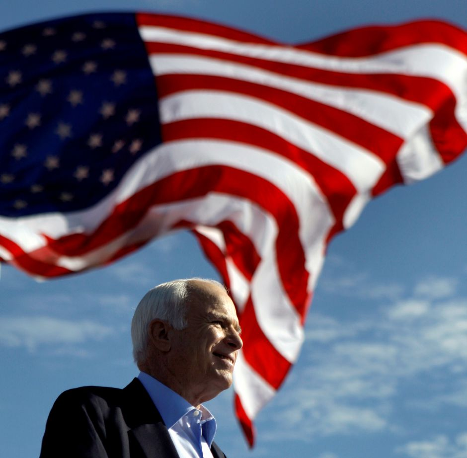 Republican presidential candidate Sen. John McCain, R-Ariz. speaks at a rally outside Raymond James Stadium in Tampa, Fla., Monday, Nov. 3, 2008. (AP Photo/Carolyn Kaster))