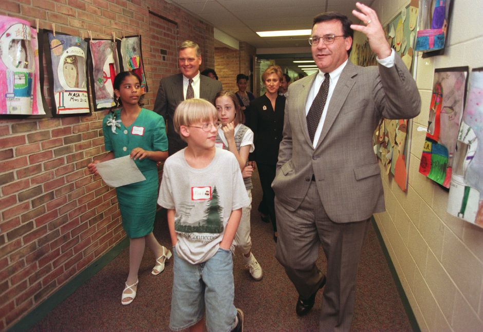RJ file photo - Cheshire Superintendent of Schools David Cressy, second from left, and state Education Commission Theordore Sergi, right, are accompanied by, from left, Christina Shaw, Mark Field and Ellen Cavanaugh as they visit Doolittle School in Cheshire May 11, 1999.
