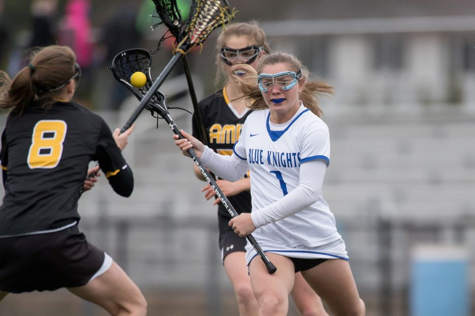 Talie Richardson scored a team-high four goals to lead the Southington girls lacrosse squad to a 17-11 victory in Farmington on Tuesday. | Justin Weekes / Special to the Record-Journal