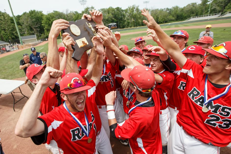 The Cheshire Rams celebrate their win Saturday during the CIAC Class LL final at Palmer Field in Middletown. Cheshire Rams defeated Ridgefield 1-0 May 31, 2016 | Justin Weekes / Special to the Record-Journal