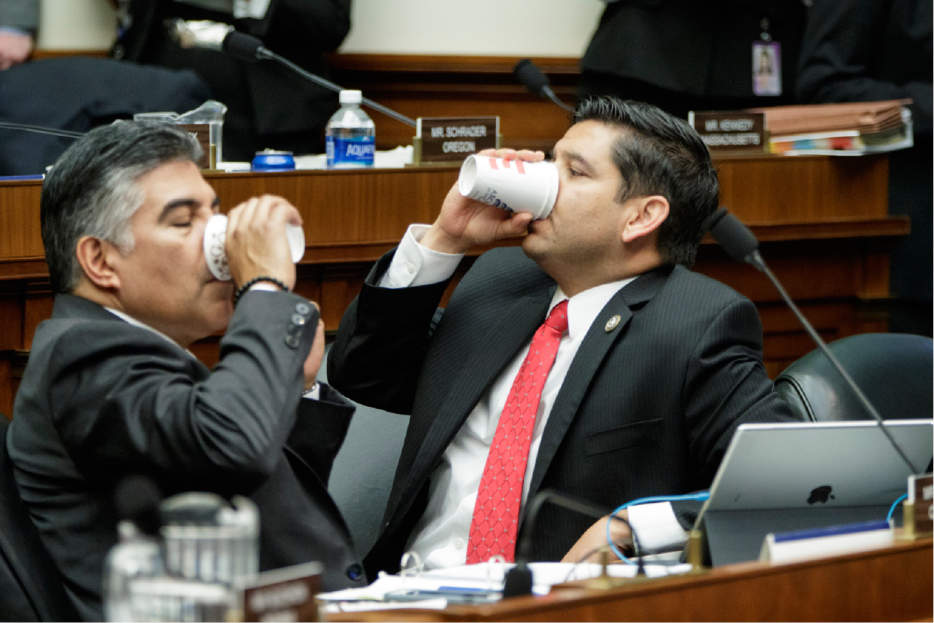 House Energy and Commerce Committee member Rep. Tony Cardenas, D-Calif., left, and Rep. Raul Ruiz, D-Calif., pause as members of the committee argue the details of the GOP