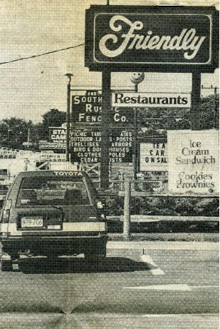 Aug. 1983: Friendly restaurant, at 100 Queen St., looking north toward Southington Rustic Fence Company. The restaurant would gain its apostrophe-S six years later and eventually move farther north on Queen Street. | Record-Journal archive