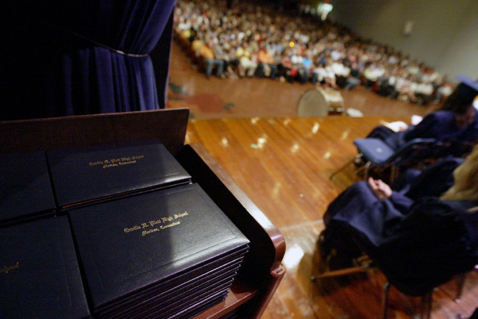 MERIDEN, Connecticut - Thursday, June 18, 2009 - Just off stage, diplomas await the Platt High School graduates during the Class of 2009 Commencement Excercises on Thursday at the school. Rob Beecher / Record-Journal