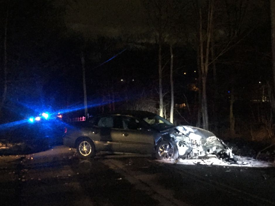 The driver fled after crashing into a pole on Finch Avenue in Cheshire Friday night. | Bailey Wright, Record-Journal