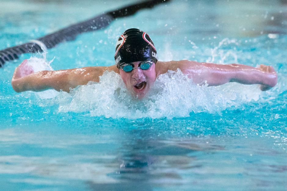Cheshire senior Joe Cannata won the Class L championship in the 200 individual medley Monday at SCSU. | Justin Weekes / For the Record-Journal