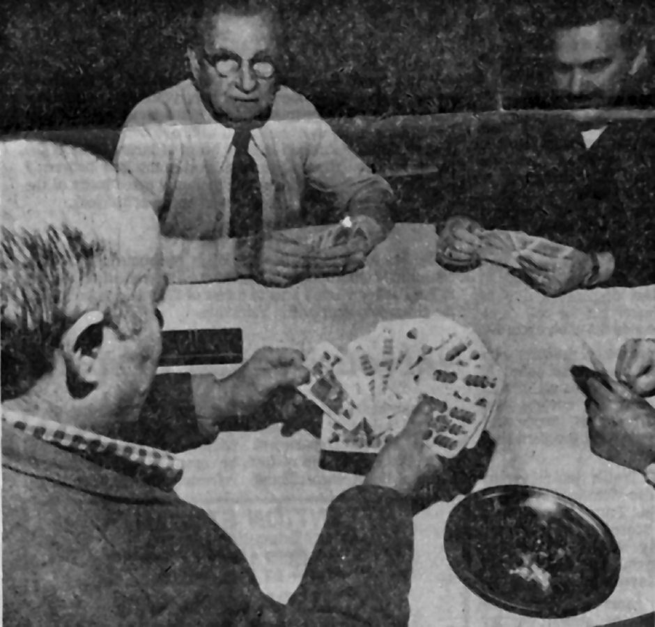 "Members of the Hungarian Community Club  engrossed in a game of ""ulti,"" a traditional Hungarian card game, in  1978.File photo, Record-Journal"