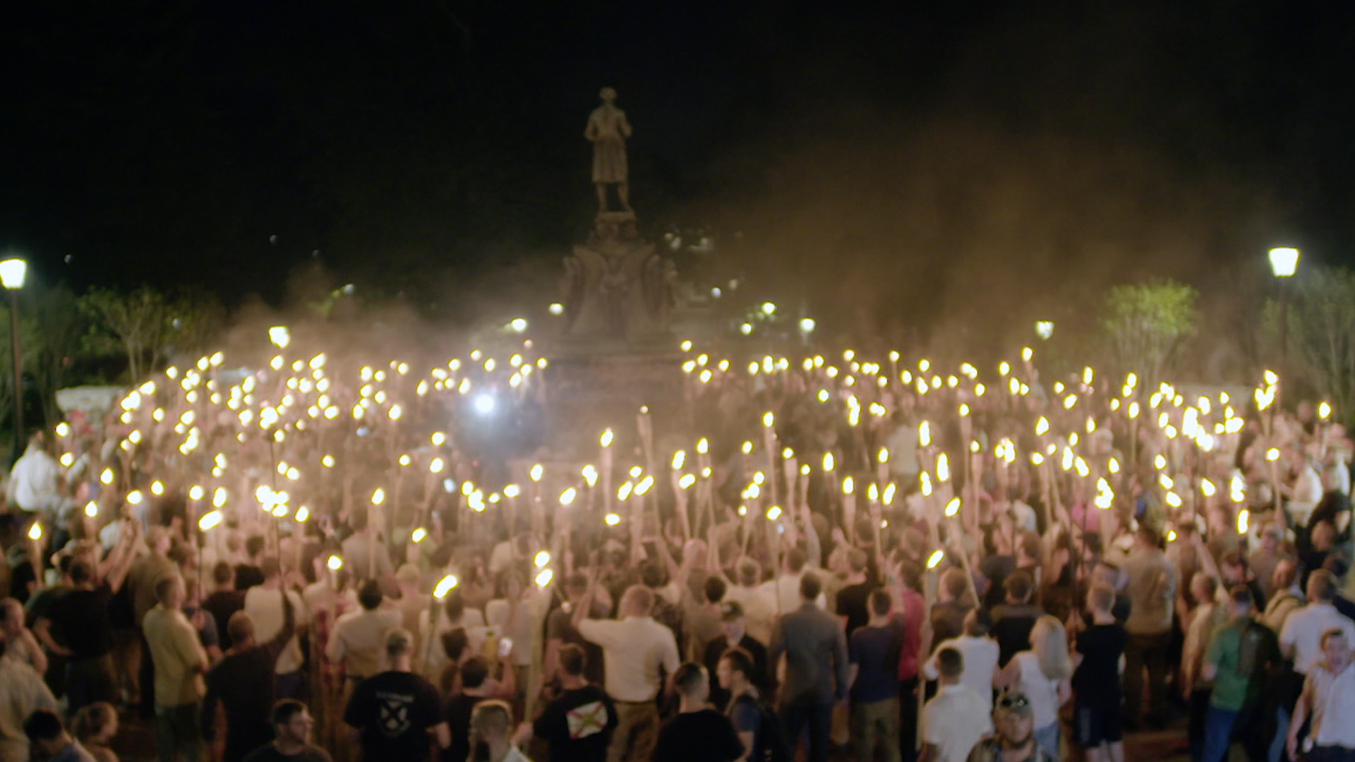 This Friday, Aug. 11, 2017, image made from a video provided by Vice News Tonight shows a white nationalist rally in Charlottesville, Va. For all the words flowing since last weekend in Charlottesville, the most striking television reporting has been Vice Media