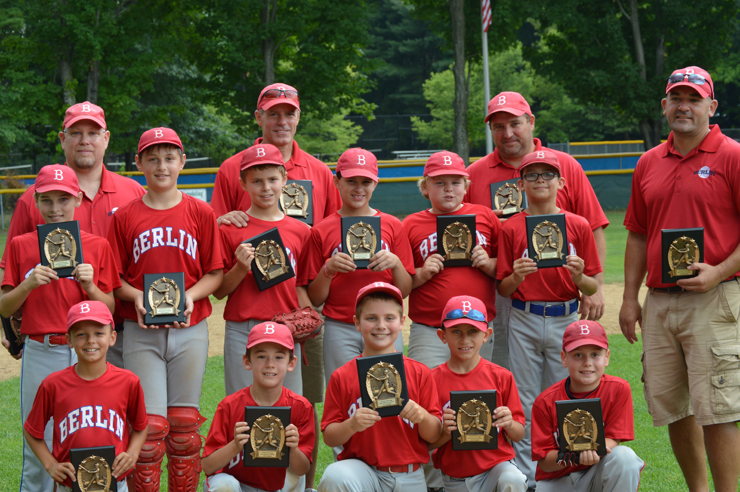The Berlin Little League Minors tournament team won the championship at the Watson Tournament in Forestville. Front row: Johnny O'Brien, Joey Francalangia, Max Weber, Matthew Zup, Ryan Lavender. Second row: Ryan Scheer, Dominic Radek, Tyler Bergstrom, Evan Chant, Sam Pelkey, A.J. Gafford. Back row: Coaches Kevin Lavender, Fred Bergstrom, Mike Weber and Dave Francalangia. Missing from photo: Coach Jay Riccitelli and Christian Riccitelli.