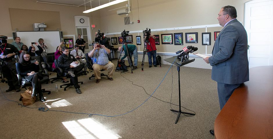 Cheshire School Superintendent Jeff Solan addresses the media on the impact teacher Megumi Yamamoto had on Cheshire High School at the Cheshire Board of Education, Friday morning, Oct. 5, 2018. Dave Zajac, Record-Journal