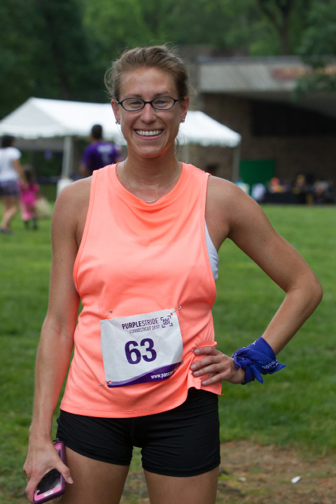 Melissa Carleton was the first female finisher Saturday during the PurpleStride 5k and walk fundraiser for Pancreatic Cancer Action Network at Hubbard Park in Meriden Jun. 17, 2017 | Justin Weekes / For the Record-Journal