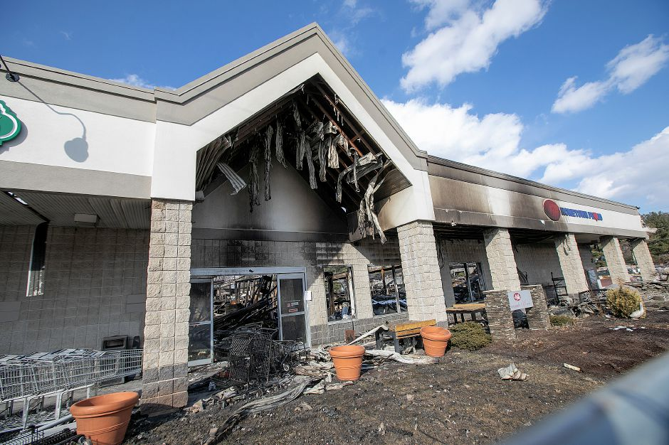 The front entrance of Tops Market in Southington, as seen Thursday, after a fire Sunday destroyed the business. Owner John Salerno said he plans to rebuild the grocery store on Meriden-Waterbury Turnpike. Dave Zajac, Record-Journal