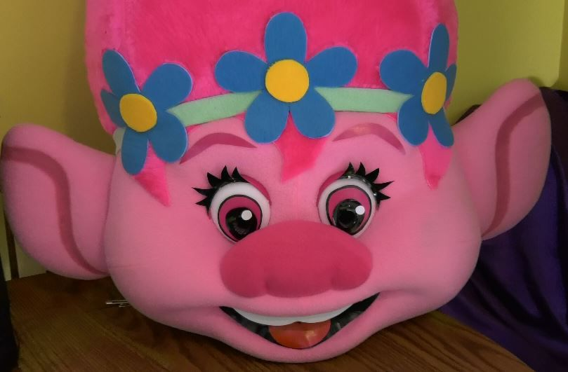 A character mascot head used for parties and events hosted by Jenna Morin, owner of Face Candy Art and Entertainment, Meriden. |Ashley Kus, Record-Journal