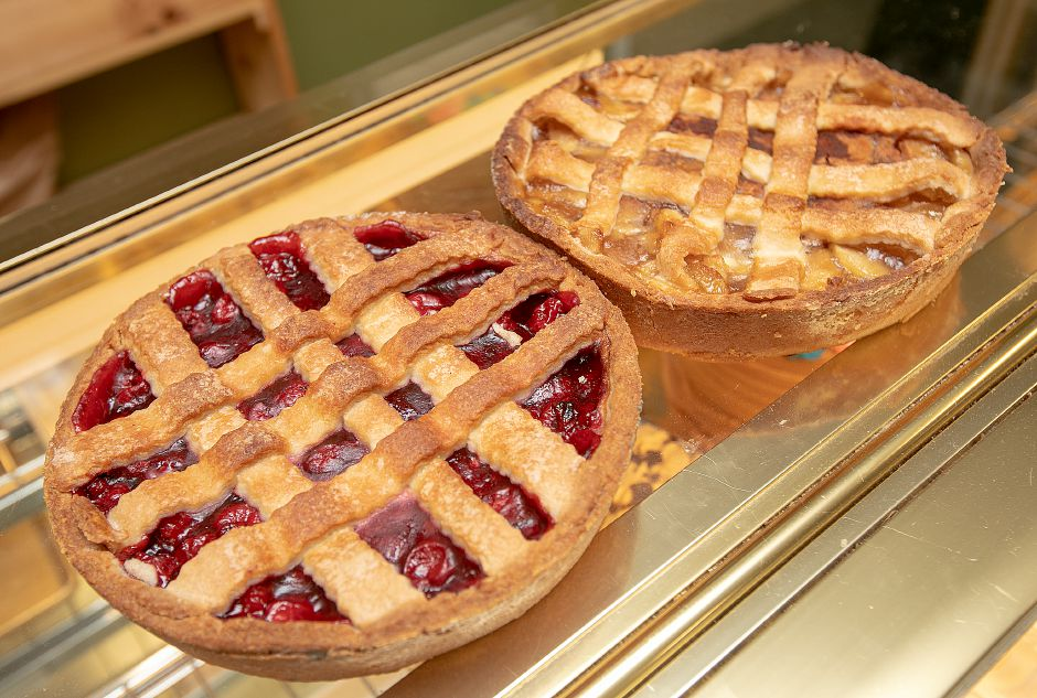 Cherry and apple pies at The Bakery On The Ave. in Berlin, Wed., June 12, 2019. Bakery owner Enzo Formica is planning to open a location on Center Street in downtown Southington next month. Dave Zajac, Record-Journal