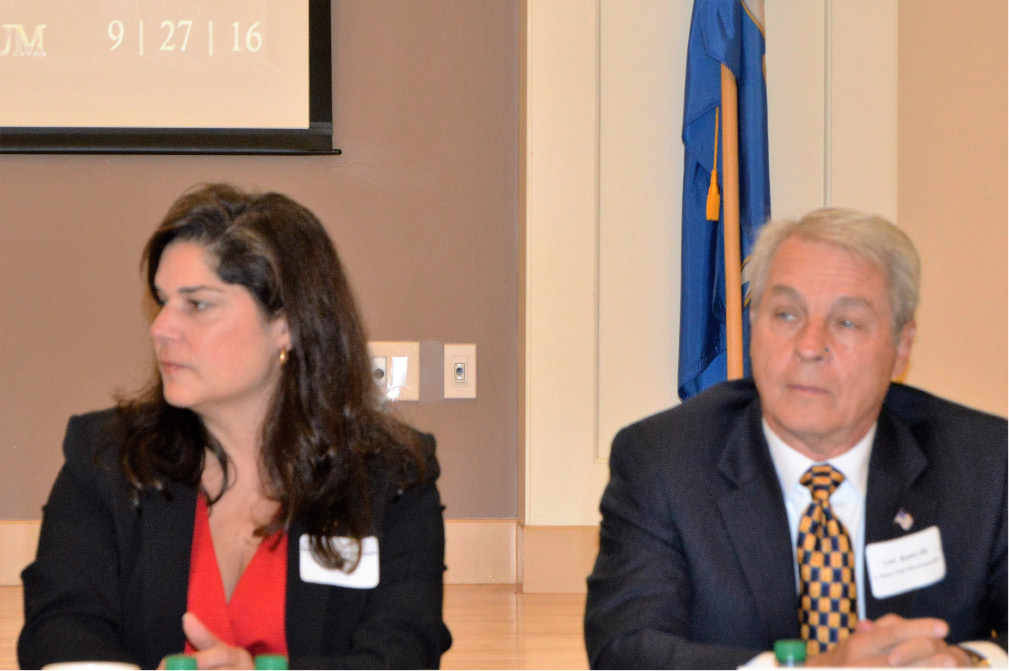 Sen. Dante Bartolomeo, D-Meriden, and her opponent Len Suzio listen during a candidate forum in Wallingford on Sept. 27, 2016. | Mike Savino, Record-Journal