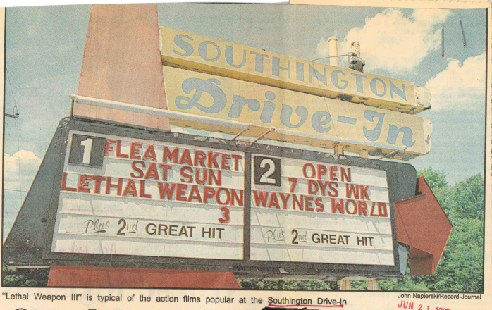 The Southington Drive-In sign in June, 1992. | Record-Journal archives