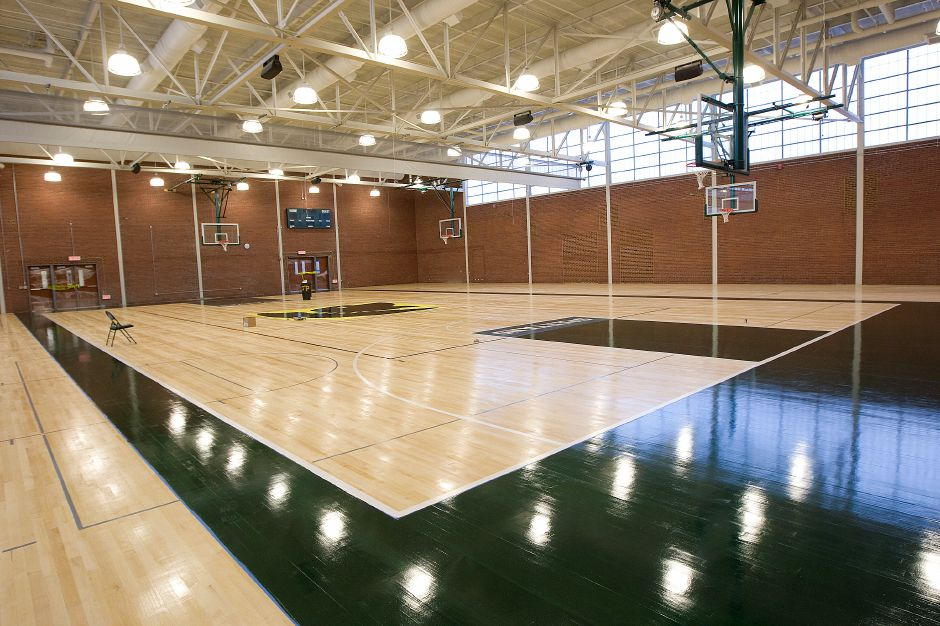 The main gymnasium under construction at Maloney High School in Meriden, Friday, September 2, 2016. | Dave Zajac, Record-Journal