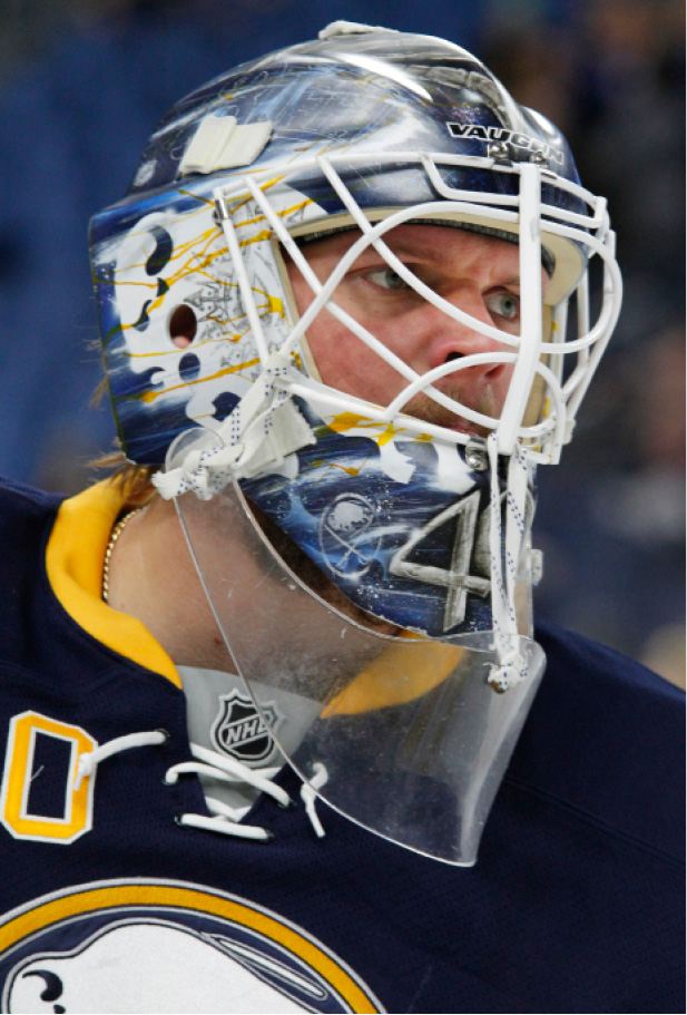 Buffalo Sabres goalie Robin Lehner skates prior to an NHL hockey game against the Boston Bruins, Thursday, Dec. 29, 2016, in Buffalo, N.Y. (AP Photo/Jeffrey T. Barnes)