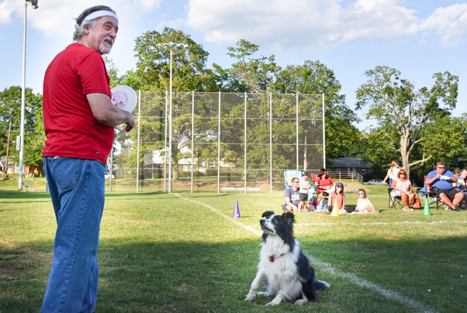 Salem resident Ed Jakubowski with dog Alex before starting their first throw.