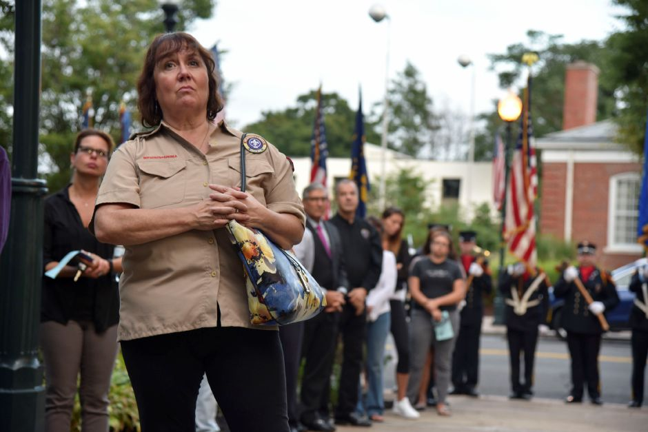 Community members gathered at the Wallingford Town Hall for a 9/11 remembrance ceremony on Tuesday, September 11, 2018. | Bailey Wright, Record-Journal
