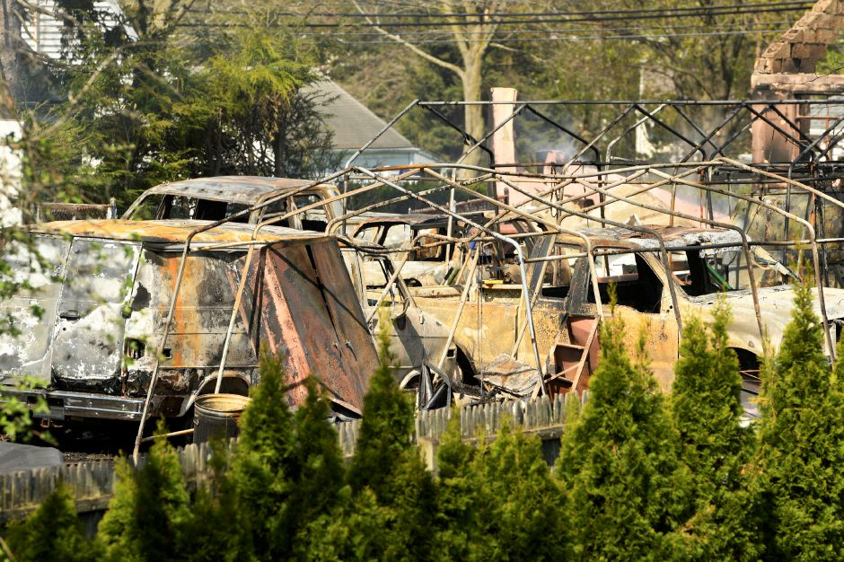 North Haven, CT 05/03/18 Authorities made a gruesome discovery early Thursday when they found remains in a structure burned following an explosion that capped an hours-long attempt by officers to coax a barricaded man from the North Haven property. Photo by John Woike | jwoike@courant.com