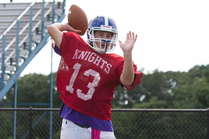 Southington's Will Barmore throws to receivers during practice Wednesday at Fontana Field in Southington.| Justin Weekes, Special to the Record-Journal