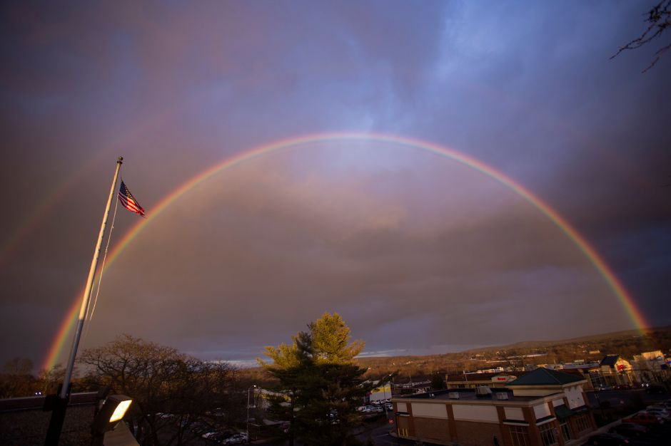 A vibrant rainbow arcs over Meriden on Jan. 4, as seen from the Record-Journal office on South Broad Street.  Richie Rathsack/Record-Journal