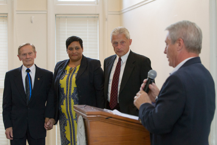 State Sen. Len Suzio gives remarks to the honorees during the 41st Annual Meriden Hall of Fame induction ceremony held at the Augusta Curtis Cultural Center in Meriden on Sunday, October 22, 2017. | Justin Weekes, special to the Record-Journal