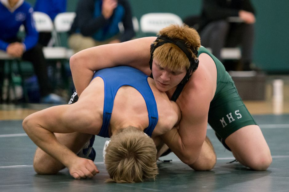 An unorthodox wrestling style has Maloney junior Nick DeBaise riding a 7-3 record at 182 pounds. Justin Weekes, Special to the Record-Journal