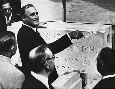 Gov Franklin D.. Roosevelt, of New York State, lays the cornerstone of the new state office building on. Aug. 29, 1930 in Buffalo, N.Y.(AP Photo)