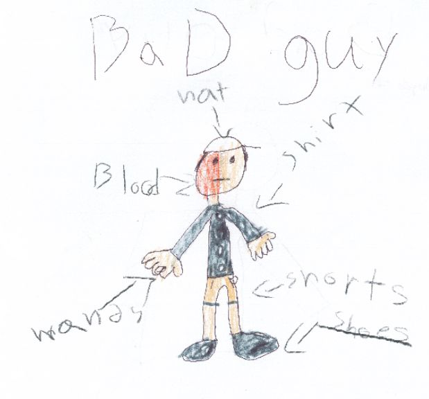 Sketches drawn by three Berlin children and provided to police, including this one, depict the operator of a motorcycle who fled after crashing into a guardrail on the Berlin Turnpike on Tuesday. Courtesy of the Berlin Police Department