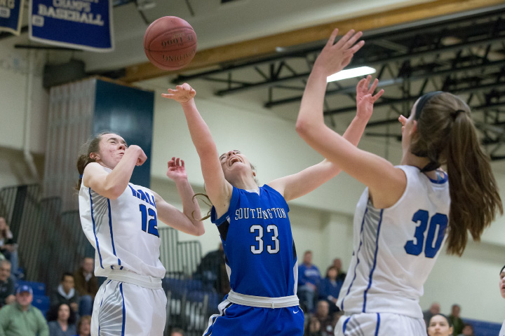 Janette Wadolowski scored 21 points and grabbed 13 rebounds, broken hand and all, in Southington