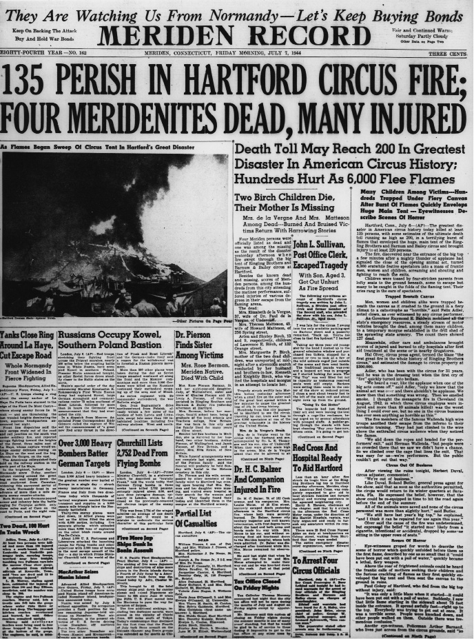 RJ 150 Hartford circus fire of 1944 killed 5 Meriden residents & MERIDEN u2014 A blaze that ignited the tent of Ringling Bros. and