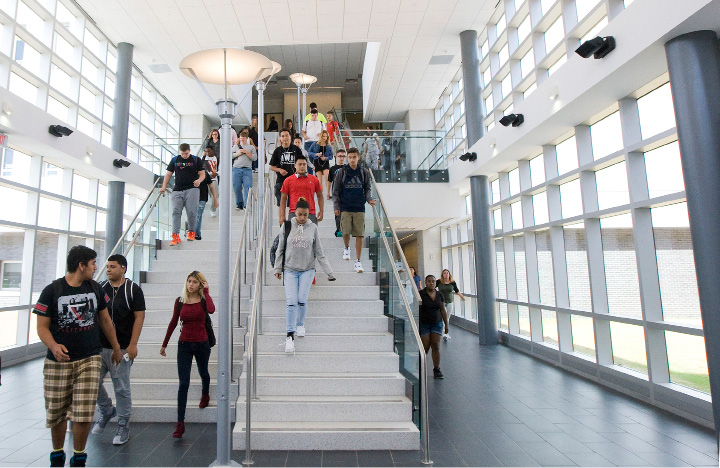 Students walk down the main staircase in the new wing of Platt High School in Meriden, Friday, September 2, 2016.  | Dave Zajac, Record-Journal