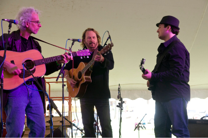 Musician and songwriter Gary Burr, center, a Meriden native, plays backup guitar alongside guitarist Dick Neal, left, and bassist Matt Mirando during the 2012 Daffodil Festival.| File photo, Record-Journal