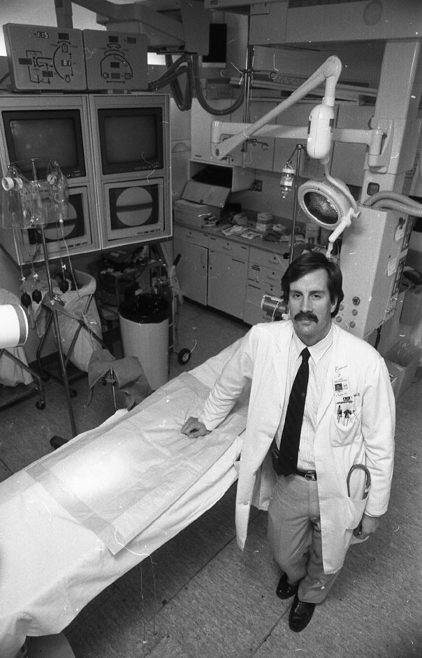 RJ file photo - Dr. Michael Remetz of Yale-New Haven Hospital is part of a team that is experimentin with a new device that reduces te complications associated with angioplasty, March 1989.