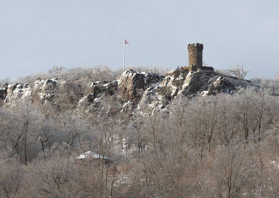 Ice covers trees around Castle Craig overlooking Hubbard Park in Meriden, Mon. Jan. 21, 2019. Dave Zajac, Record-Journal