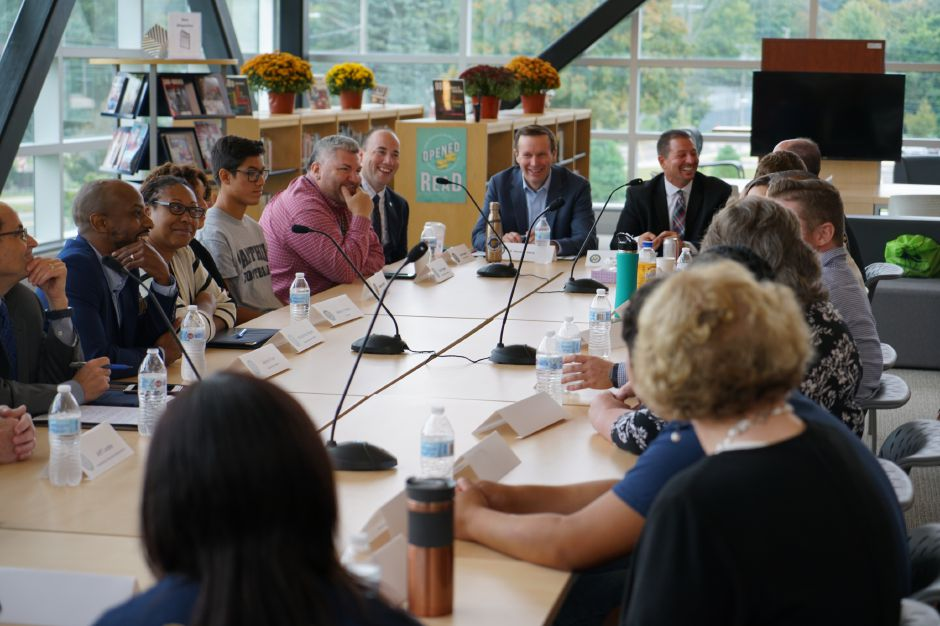 U.S. Sen. Christopher Murphy D-Connecticut leads a roundtable discussion on student racial and income diversity at Platt High School Monday. Submitted photo.