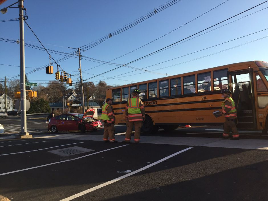 There were no reported injuries in a school bus crash in Wallingford on Tuesday, Nov. 28, 2017. | Bailey Wright, Record-Journal