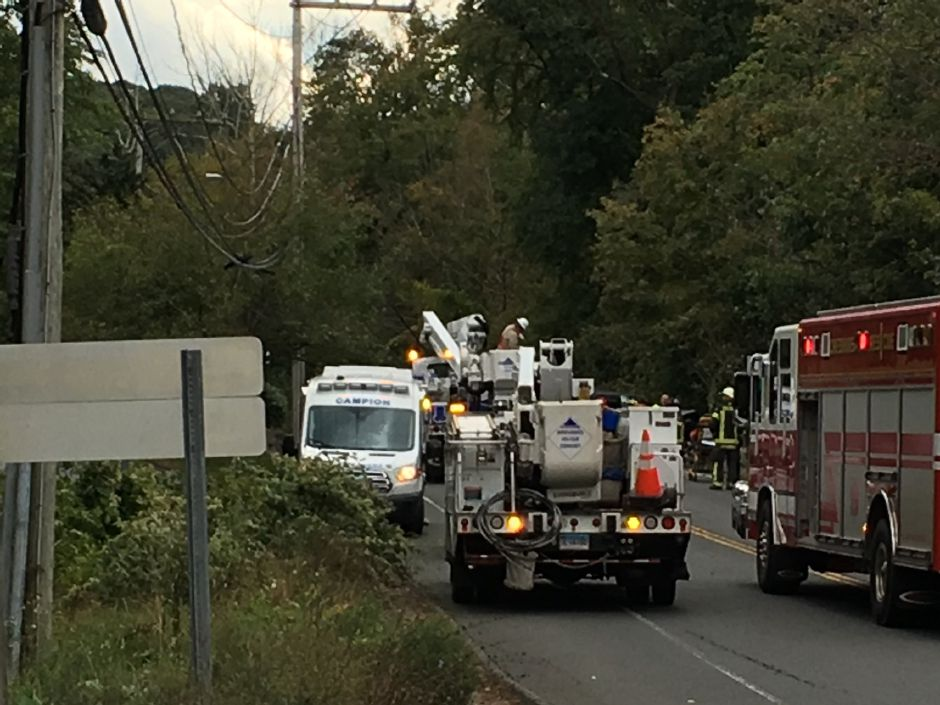 Section of Route 68 in Cheshire closed after car strikes pole