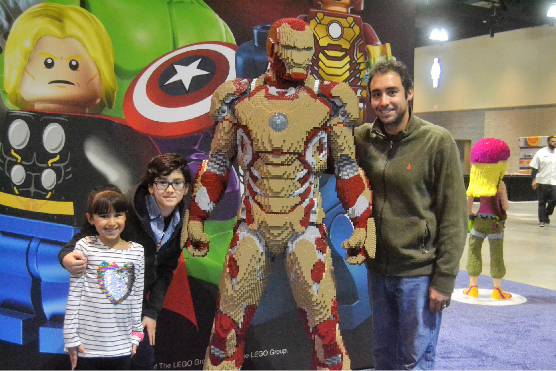 Marwin Gonzalez, his daughter Mia Gonzalez and his nephew Santiago Gonzlaez pose with Iron Man at LEGO KidsFest at the Connecticut Convention Center in Hartford on Dec. 2, 2016. | Pete Paguaga, Record-Journal