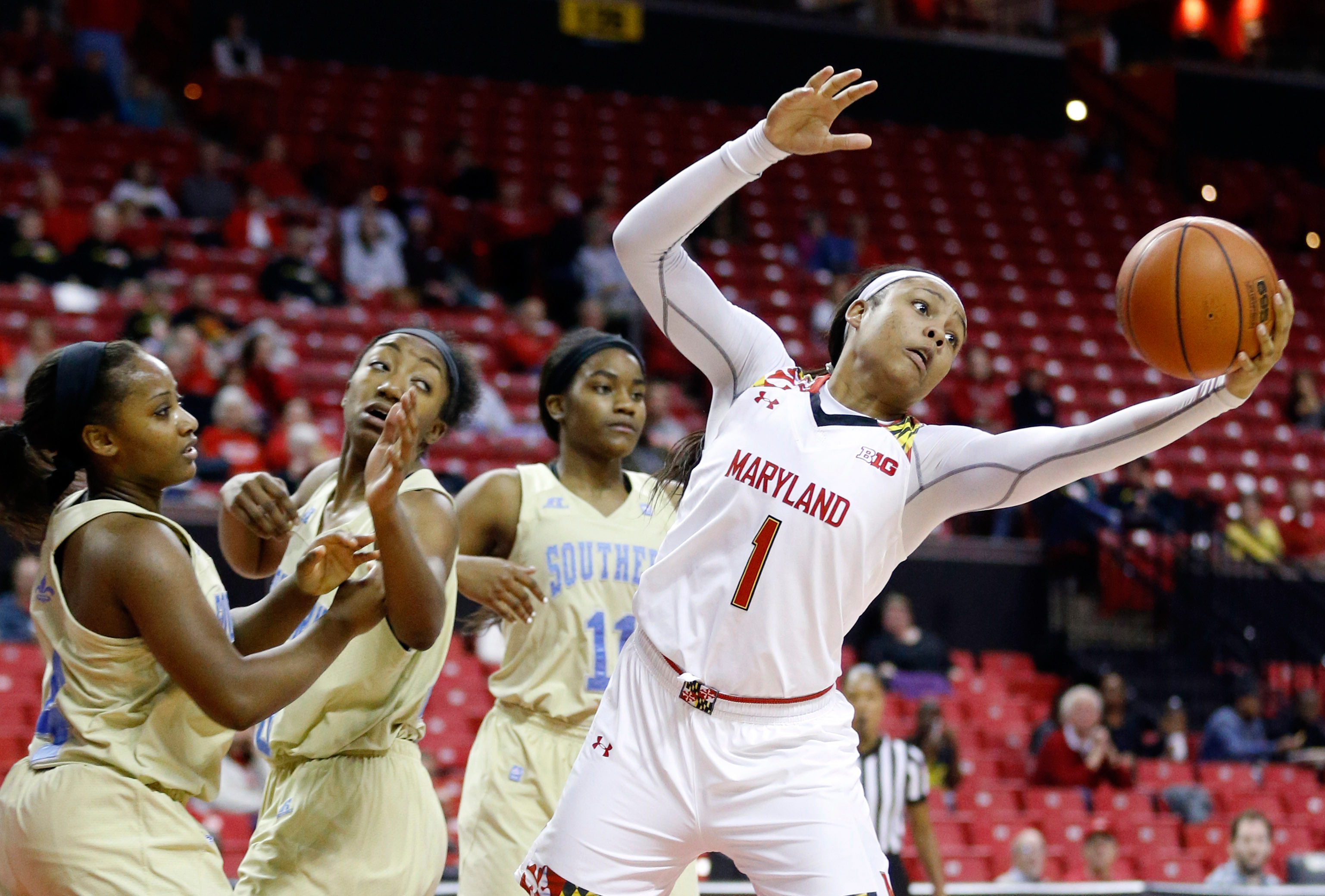 Kiah Gillespie is in her sophomore season at the University of Maryland after her 2,000-point career at Capital Prep. Gillespie is one of three Meriden natives playing Division I college basketball this winter. (AP Photo/Patrick Semansky)