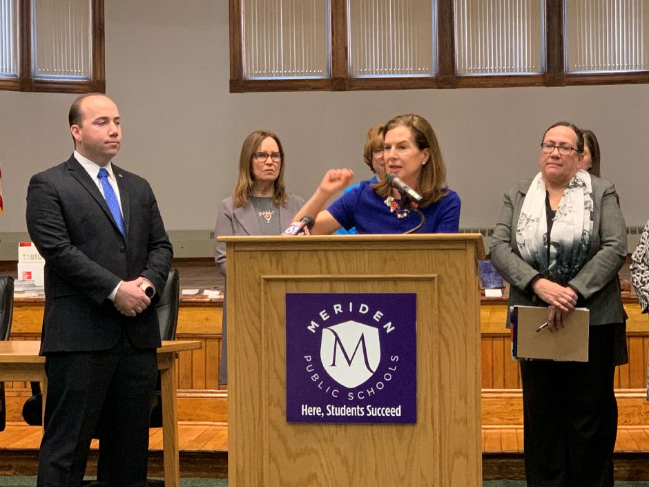 Lt. Governor Susan Bysiewicz speaks during a press conference about the 2020 U.S. Census at the Meriden Board of Education building on March 14, 2019. Local, state and federal officials announced outreach initiatives meant to promote census participation at the press conference. Matthew Zabierek, Record-Journal