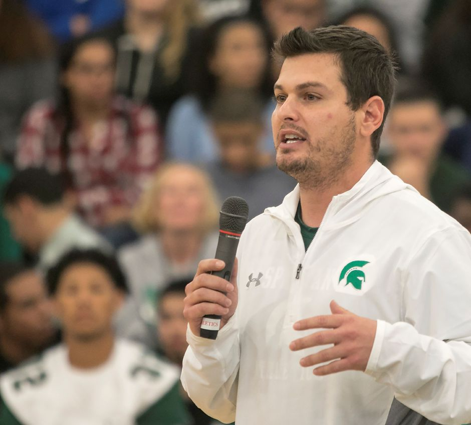 Spartans head coach Kevin Frederick speaks during the annual pep rally at Maloney High School in Meriden, Wednesday, Nov. 22, 2017. | Dave Zajac, Record-Journal