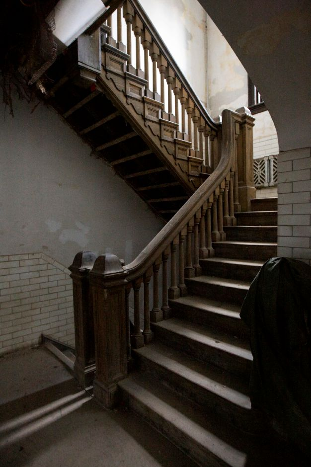 A wooden staircase in the former armory at 241 E. Main St. in Meriden, Thursday, January 26, 2017. Extensive repairs and environmental cleanup have rehabilitated the once blighted structure. Wayne Barneschi, founder of the Trail of Terror in Wallingford, is turning the 1908 building into the 'Armory of Darkness' and hopes to open in time for the Halloween season. | Dave Zajac, Record-Journal